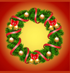 Christmas fir-tree wreath vector image