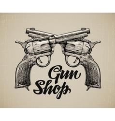 Crossed pistols hand drawn sketch gun vector