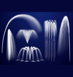 realistic fountains on blue background set vector image vector image