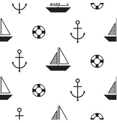 sailboat seamless nautical pattern in vector image