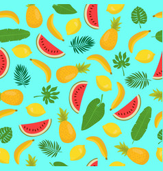Seamless pattern with bananas pineapples vector