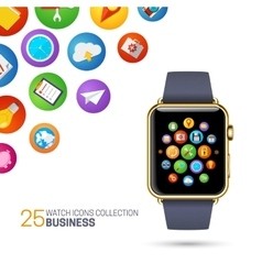 Smart watch with black wristband vector image