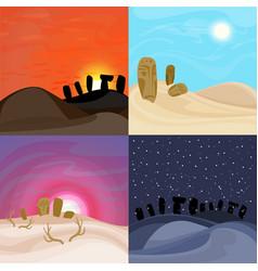 beautiful desert landscapes set vector image vector image