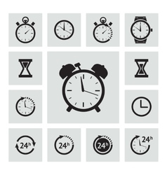 Black clock icons set vector image