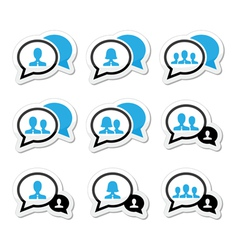 Business meeting communication icons set vector image vector image