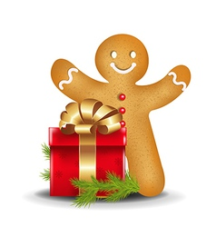 Gingerbread Man With Red Gift Box vector image