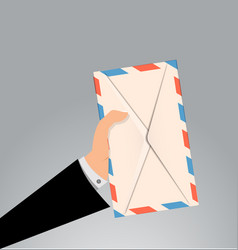 hand holding envelope letter vector image