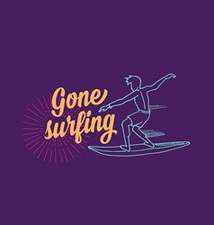 Surf surfboard icon banner surfer vector image vector image