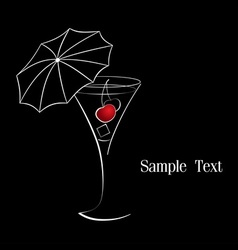 Cocktail with cherry vector image