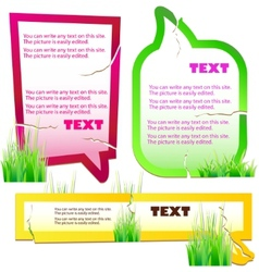 colorful grass speech stickers vector image
