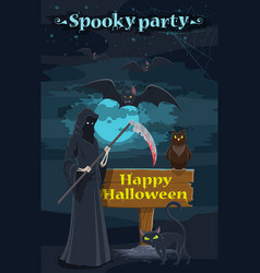 halloween holiday night party banner with skeleton vector image vector image