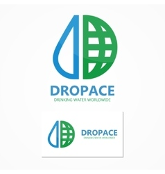 logo combination of a water drop and earth vector image vector image