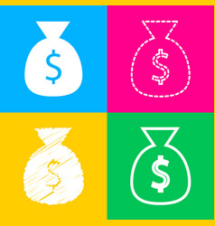 money bag sign four styles of icon vector image