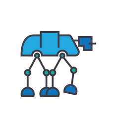 robot warior armored transport flat lin vector image vector image