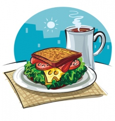 sandwich and coffee vector image vector image