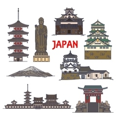 Travel landmarks of Japan colorful thin line icon vector image vector image