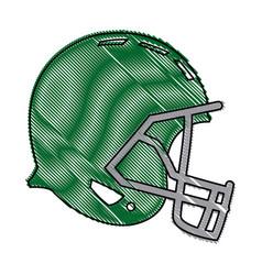 drawing green american footbal helmet equipment vector image vector image