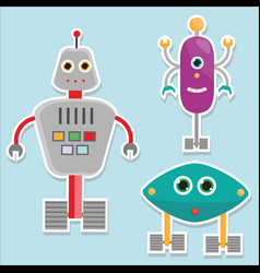 robots stickers isolated vector image