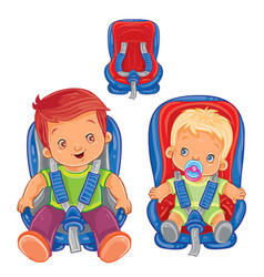small children in car seats vector image vector image