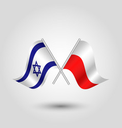 two crossed israeli and polish flags vector image vector image