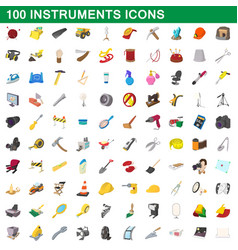 100 instruments icons set cartoon style vector