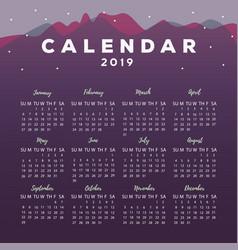 2019 calendar vector