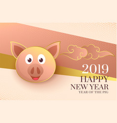 2019 happy chinese new year of the pig elegant vector