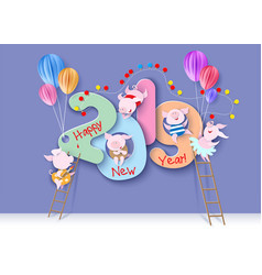2019 happy new year design card with pigs vector image