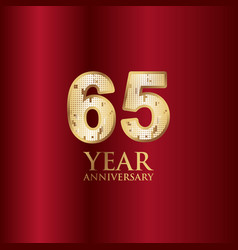 65 year anniversary gold with red background vector