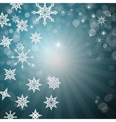 Abstract Winter Retro Background with Snowflakes vector image