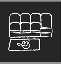 Accessible seating chalk white icon on black vector