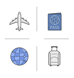 air travel color icons set vector image
