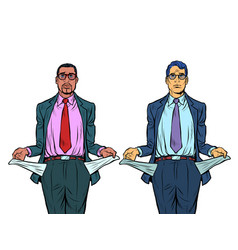 Bankrupt african and caucasian businessman a man vector