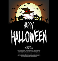 baseball ball with witch hat and happy hallowen vector image