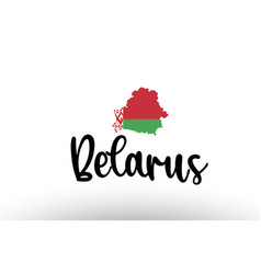 Belarus country big text with flag inside map vector