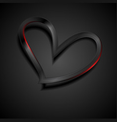 black glossy heart with red lights abstract vector image