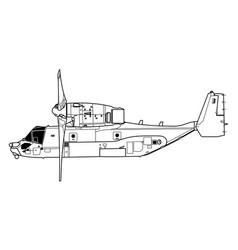 boeing vertol v-22 osprey vector image