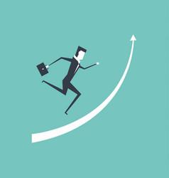 businessman running up on raised arrow vector image