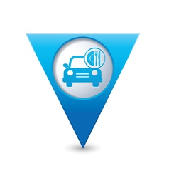 Car with fast food icon pointer blue vector