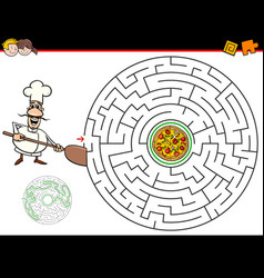 Cartoon maze game with chef and pizza vector