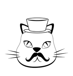 Cat hipster style icon vector