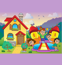 Children playing near house theme 3 vector