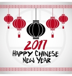Chinese new year 2017 hanging lantern greeting vector