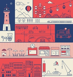 CITY IN LINE ART FLAT ICONS OUTLINE STYLE vector