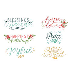 Collection with 6 colorful holiday cards made hand vector
