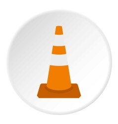 Construction cone icon flat style vector