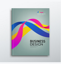 Cover business book annual report colorful ribbon vector