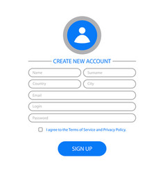 create account page vector image