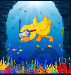 Cute duck snorkeling underwater sea vector