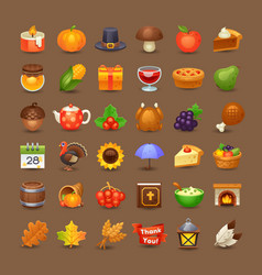 Cute thanksgiving icons vector